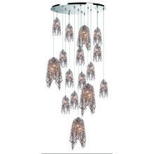 Eurofase Online 31619-011 - Danza Cascading Chandelier with Metal and Handmade Cognac Crystal Chain, Chrome Finish, 20 G9 Light