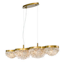 Eurofase Online 31832-014 - Mondo Clustered Crystal Orb Linear Chandelier, Antique Gold Finish, Cognac and Clear Crystals, 10 G9