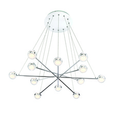 Eurofase Online 31864-015 - Lazio Modern 12 LED Suspended Orbs Chandelier, Clear Glass with Frosted Interior, Polished Chrome Fi