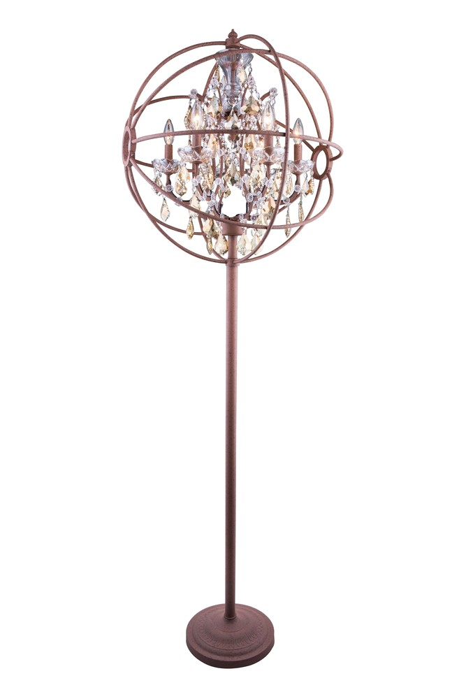 1130 Geneva Collection Floor Lamp D:24in H:71.5in Lt:6 Rustic Intent Finish (Royal Cut Crystals)