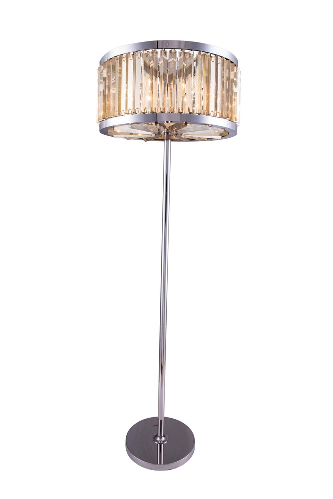 1203 Chelsea Collection Floor Lamp D:25in H:72in Lt:6 Polished nickel Finish (Royal Cut Crystals)