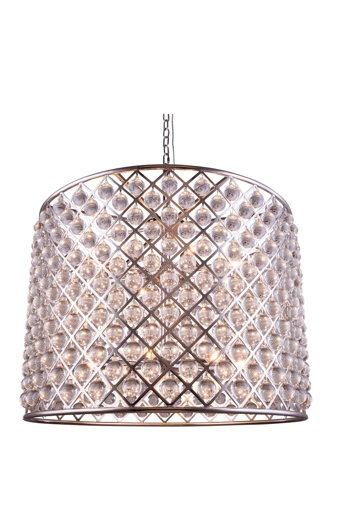 1204 Madison Collection Chandelier D:35.5in H:28in Lt:12 Polished nickel Finish (Royal Cut Crystals)