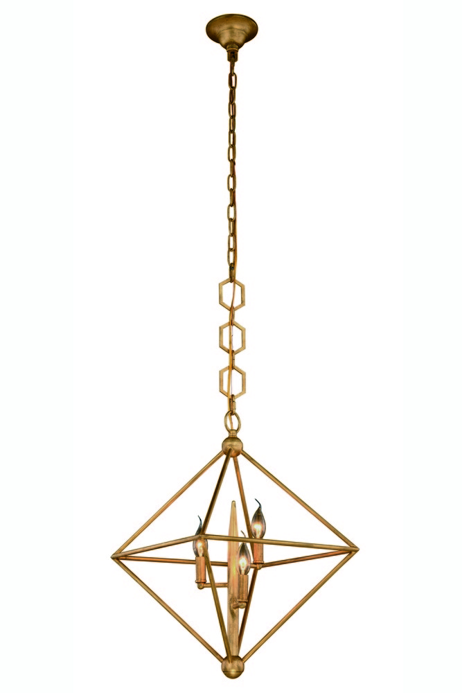 1495 Nora  Collection Pendant D:22in H:24in Lt:3 Golden Iron Finish