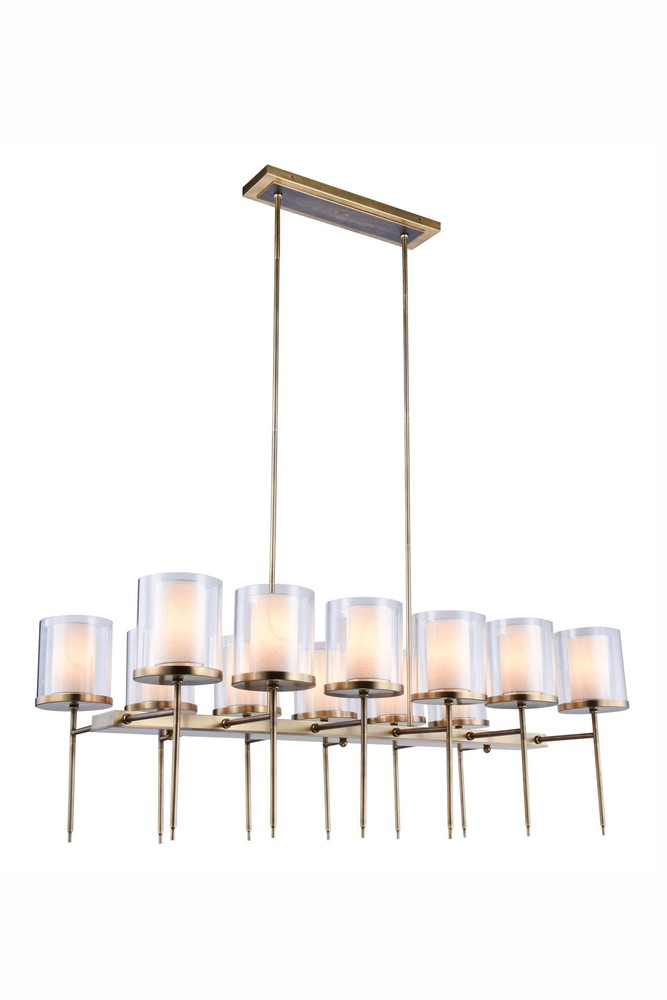 1504 Bradford Collection Chandelier L:47in W:23in H:58in Lt:12 Burnished Brass Finish