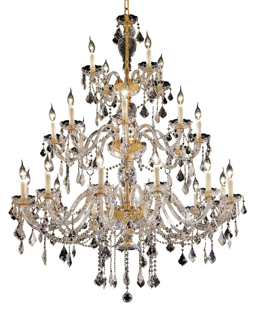 7831 Alexandria Collection Chandelier D:45in H:60in Lt:24 Gold Finish (Swarovski® Elements Crystals)