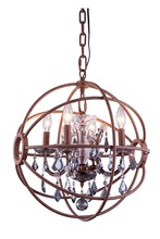 Elegant 1130D17RI-SS/RC - 1130 Geneva Collection Pendant D:17in H:19.5in Lt:4 Rustic Intent Finish (Royal Cut Crystals)