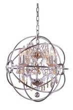 Elegant 1130D20PN-GT/RC - 1130 Geneva Collection Pendant D:20in H:23in Lt:5 Polished nickel Finish (Royal Cut Crystals)