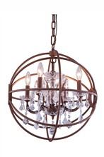 Elegant 1130D20RI/RC - 1130 Geneva Collection Pendant D:20in H:23in Lt:5 Rustic Intent Finish (Royal Cut Crystals)