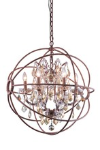 Elegant 1130D25RI-GT/RC - 1130 Geneva Collection Chandelier D:25in H:27.5in Lt:6 Rustic Intent Finish (Royal Cut Crystals)
