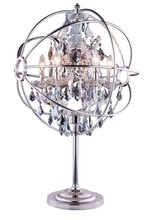 Elegant 1130TL21PN-SS/RC - 1130 Geneva Collection Table Lamp D:22in H:34in Lt:6 Polished nickel Finish (Royal Cut Crystals)