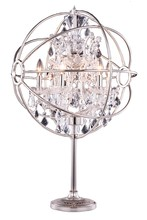 Elegant 1130TL21PN/RC - 1130 Geneva Collection Table Lamp D:22in H:34in Lt:6 Polished nickel Finish (Royal Cut Crystals)