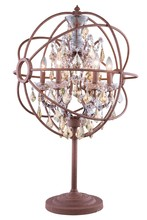Elegant 1130TL21RI-GT/RC - 1130 Geneva Collection Table Lamp D:22in H:34in Lt:6 Rustic Intent Finish (Royal Cut Crystals)