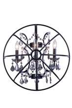 Elegant 1130W21DB-SS/RC - 1130 Geneva Collection Wall Sconce D:21in H:21in E:10.5in Lt:3 Dark Bronze Finish (Royal Cut Crystal