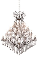 Elegant 1138G60RS/RC - 1138 Elena Collection Chandelier D:60in H:75in Lt:49 Raw Steel Finish (Royal Cut Crystals)