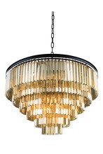 Elegant 1201D44MB-GT/RC - 1201 Sydney Collection Chandelier D:44in H:32in Lt:33 Matte Black Finish (Royal Cut Crystals)