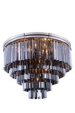 Elegant 1201F32PN-SS/RC - 1201 Sydney Collection Flush Mount D:32in H:21in Lt:17 Polished nickel Finish (Royal Cut Crystals)