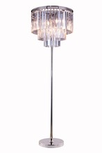 Elegant 1201FL20PN/RC - 1201 Sydney Collection Floor Lamp D:20in H:63in Lt:8 Polished nickel Finish (Royal Cut Crystals)