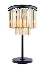 Elegant 1201TL14MB-GT/RC - 1201 Sydney Collection Table Lamp D:14in H:26in Lt:3 Matte Black Finish (Royal Cut Crystals)