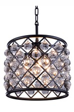 Elegant 1204D14MB/RC - 1204 Madison Collection Pendant D:14in H:13in Lt:3 Matte Black Finish (Royal Cut Crystals)