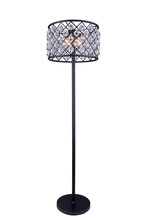 Elegant 1204FL20MB/RC - 1204 Madison Collection Floor Lamp D:20in H:72in Lt:4 Matte Black Finish (Royal Cut Crystals)