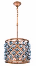 Elegant 1206D14GI-SS/RC - 1206 Madison Collection Pendant D:14in H:13in Lt:4 Golden Iron Finish (Royal Cut Crystals)