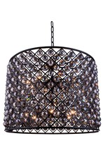 Elegant 1206D35MB-SS/RC - 1206 Madison Collection Chandelier D:35.5in H:28in Lt:12 Matte Black Finish (Royal Cut Crystals)