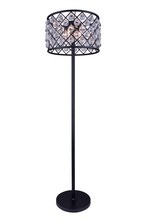 Elegant 1206FL20MB/RC - 1206 Madison Collection Floor Lamp D:20in H:72in Lt:4 Matte Black Finish (Royal Cut Crystals)