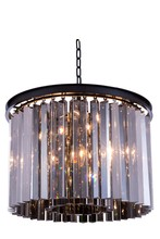 Elegant 1208D20MB-SS/RC - 1208 Sydney Collection Pendant D:20in H:13.5in Lt:6 Matte Black Finish (Royal Cut Crystals)