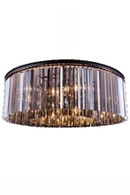 Elegant 1208F43MB-SS/RC - 1208 Sydney Collection Flush Mount D:43.5in H:13.5in Lt:10 Matte Black Finish (Royal Cut Crystals)