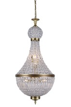 Elegant 1209D20FG/RC - 1209 Stella Collection Pendant D:20.5in H:45in Lt:8 French Gold Finish (Royal Cut Crystals)