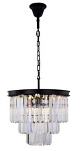 Elegant 1231D20MB/RC - 1231 Sydney Collection Chandelier D:20in H:20.5in Lt:9 Matte Black Finish (Royal Cut Crystals)