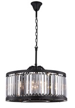 Elegant 1233D28MB-SS/RC - 1233 Chelsea Collection Chandelier D:28in H:15.5in Lt:8 Matte Black Finish (Royal Cut Crystals)
