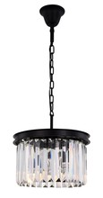 Elegant 1238D16MB/RC - 1238 Sydney Collection Pendant D:16in H:10.5in Lt:3 Matte Black Finish (Royal Cut Crystals)