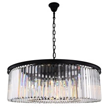 Elegant 1238G43MB/RC - 1238 Sydney Collection Chandelier D:43.5in H:13.5in Lt:10 Matte Black Finish (Royal Cut Crystals)