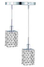 Elegant 1282D-R-S-CL/RC - 1282 Mini Collection Hanging Fixture Round Canopy D9in H12in-48in Square Pendant  Lt:2 Chrome Finish