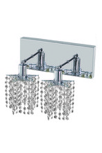 Elegant 1282W-O-P-CL/RC - 1282 Mini Collection Wall Sconce L:8in W:4.5in H:13.5in E:6in Lt:2 Chrome Finish (Royal Cut Crystals