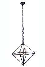 Elegant 1495D22AI - 1495 Nora  Collection Pendant D:22in H:24in Lt:3 Aged Iron Finish