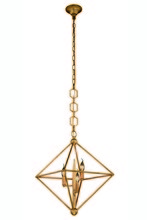 Elegant 1495D22GI - 1495 Nora  Collection Pendant D:22in H:24in Lt:3 Golden Iron Finish