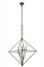 Elegant 1495D30AI - 1495 Nora  Collection Pendant D:30in H:32in Lt:5 Aged Iron Finish