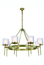 Elegant 1504G45BB - 1504 Bradford Collection Chandelier D:45in H:35in Lt:8 Burnished Brass Finish
