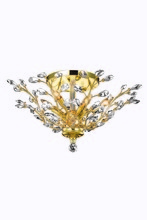 Elegant 2011F27G/SS - 2011 Orchid Collection Flush Mount D:27in H:12in Lt:6 Gold Finish (Swarovski� Elements Crystals)
