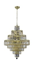 Elegant 2038D26G/SS - 2038 Maxime Collection Chandelier D:26in H:35in Lt:18 Gold Finish (Swarovski� Elements Crystals)