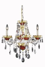 Elegant 7810D19G/SS - 7810 Alexandria Collection Pendant D:19in H:20in Lt:4 Gold/Red Finish (Swarovski® Elements Crystals)