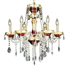 Elegant 7810D24G/RC - 7810 Alexandria Collection Chandelier D:24in H:27in Lt:6 Gold Finish (Royal Cut Crystals)