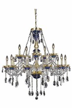 Elegant 7810G35BE/SS - 7810 Alexandria Collection Chandelier D:35in H:37in Lt:15 Blue Finish (Swarovski® Elements Crystals)