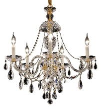 Elegant 7829D25G/SS - 7829 Alexandria Collection Chandelier D:25in H:28in Lt:5 Gold Finish (Swarovski® Elements Crystals)