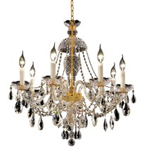 Elegant 7829D26G/RC - 7829 Alexandria Collection Chandelier D:26in H:28in Lt:7 Gold Finish (Royal Cut Crystals)