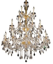 Elegant 7829G45G/SS - 7829 Alexandria Collection Chandelier D:45in H:60in Lt:24 Gold Finish (Swarovski® Elements Crystals)
