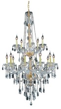 Elegant 7915G33G/SS - 7915 Verona Collection Chandelier D:33in H:52in Lt:15 Gold Finish (Swarovski� Elements Crystals)