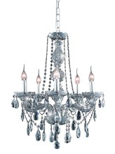 Elegant 7955D21SS-SS/SS - 7955 Verona Collection Chandelier D:21in H:26in Lt:5 Silver Shade Finish (Swarovski� Elements Crysta